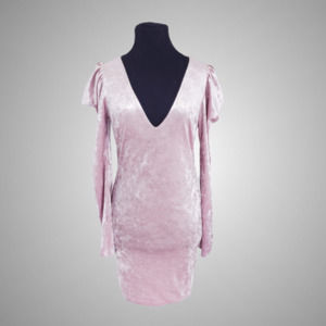 New Pink velvet Puff Sleeve Dress Size L